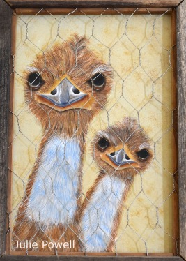 a pair of painted emus