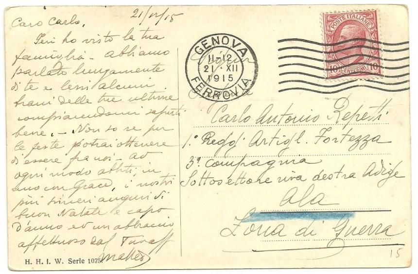 34 1915 vintage postcard italy from genova to carlo antonio repetti in adige war zone h.h.i.w. serie 1075