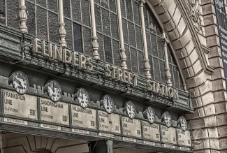 Iconic Flinders Street Train Station clocks