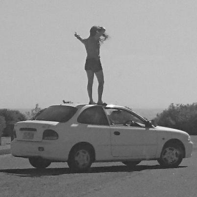 girl on car
