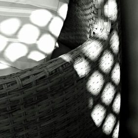 3 - Shadows on wicker furniture in B&W